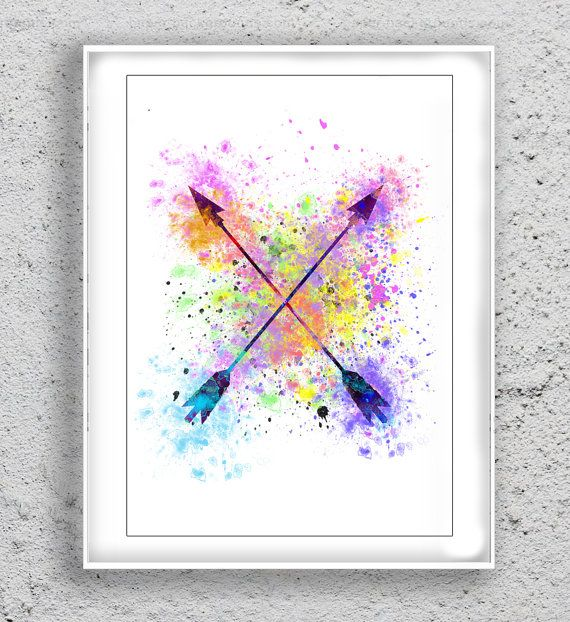 Arrow Art Print  Watercolor Print poster Print by MulticolourArt
