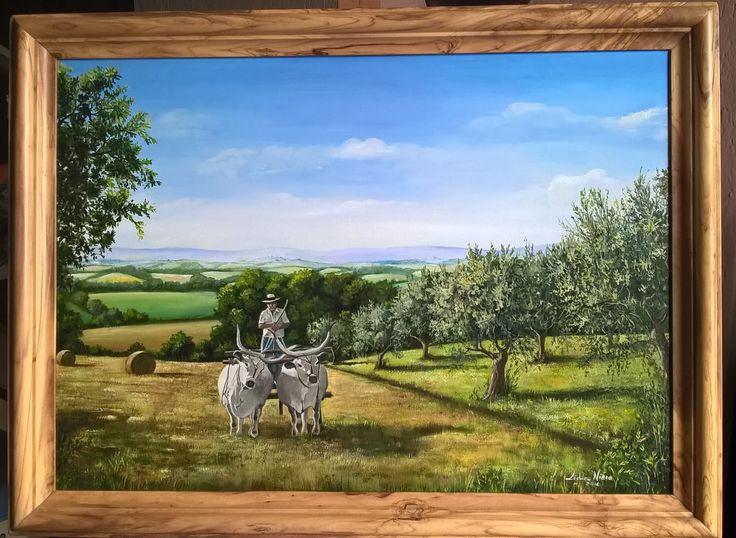 Paesaggio umbro - olio su tavola