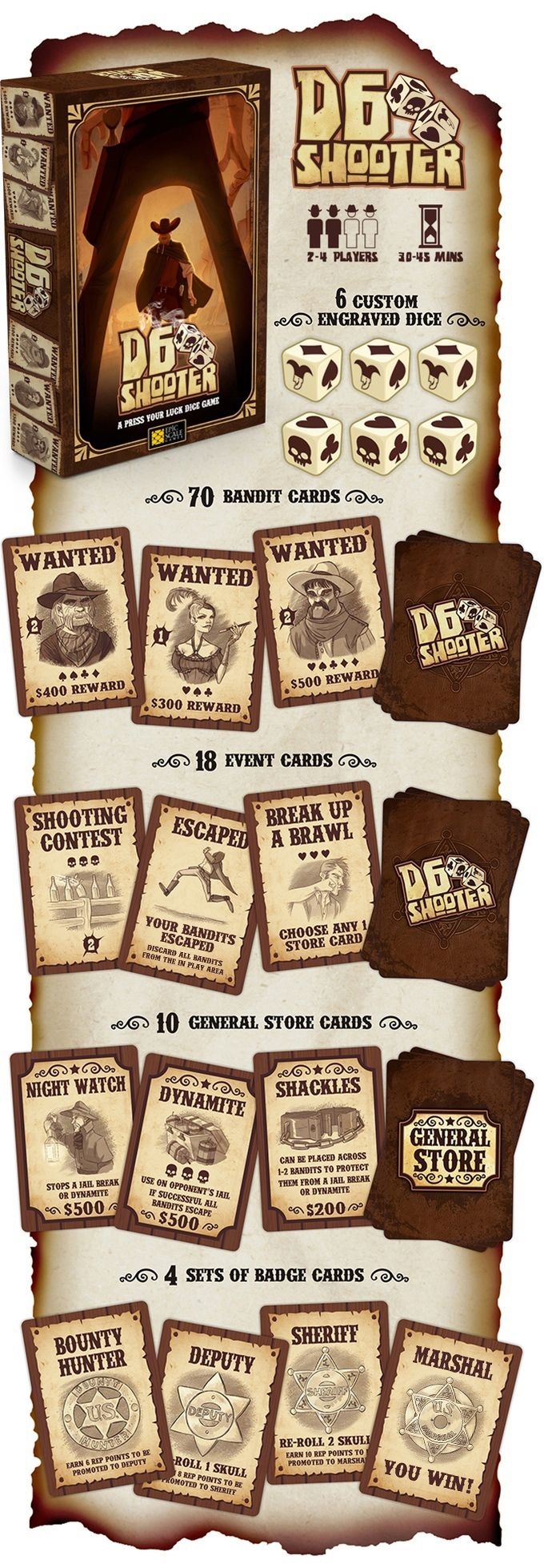 D6 Shooter: A Fast Paced, Press Your Luck Western Dice Game: Kickstarter