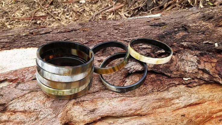 Hand crafted Exotic genuine buffalo horn bangle, cuff, bracelet