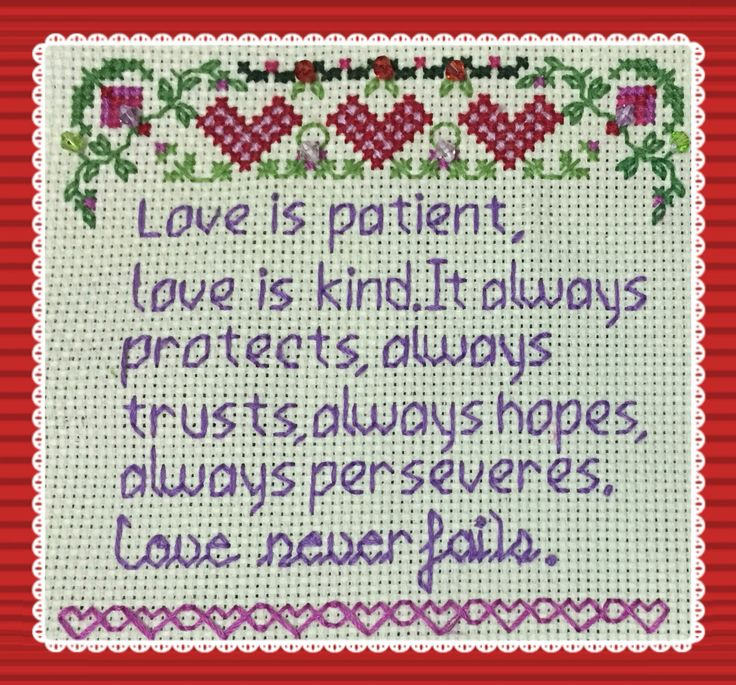 Cross stitch- Love is patient