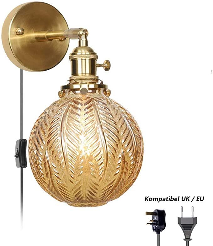 Retro Copper Wall Light Bedside Wall Lamp With Switch 1 5 M Cable With Uk Plug Adjustable Globe Glass Lampsh In 2020 Copper Wall Light Bedside Wall Lamp Wall Lights