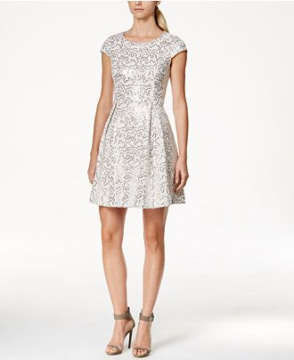 Calvin Klein Petite Sequin Cap-Sleeve Fit-and-Flare Dress - Dresses - Women - Macy's