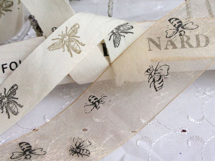 Bee Print Ribbon, Cotton or Chiffon Ribbon, Bumble Bee Ribbon, By the Metre, Cotton, Primitive by EllieMagpie on Etsy https://www.etsy.com/listing/202557132/bee-print-ribbon-cotton-or-chiffon