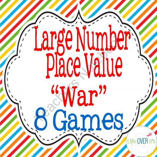 "Large Number Place Value ""War"" Math Card Game/Center from Life Over C's on TeachersNotebook.com -  (20 pages)  - Build fluency with large number place value with this fun partner game of greater than/less than. Students will compare numbers up to the millions' place value in numerals and words."