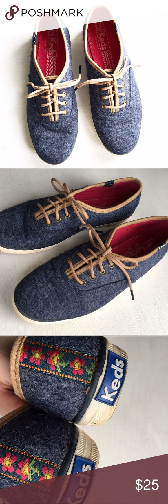 Blue Felt Lace Up Keds Sneakers Size 6.5. Please see all pictures for an accurate description of condition. Minimal normal wear. *0105170300* Keds Shoes Sneakers