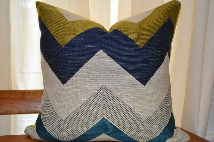 blue, teal, and gold chevron printed pillow cover. $38.00, via Etsy.