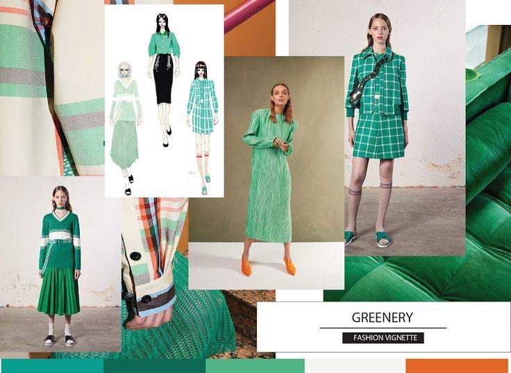 FASHION VIGNETTE DESIGN STUDIO Mood board inspiration | Resort 2018 Runway GREENERY - levels of green used in Sport and Modern Chic Red Valentino | Victoria Beckham | Tibi | Red Valentino   Fashion V