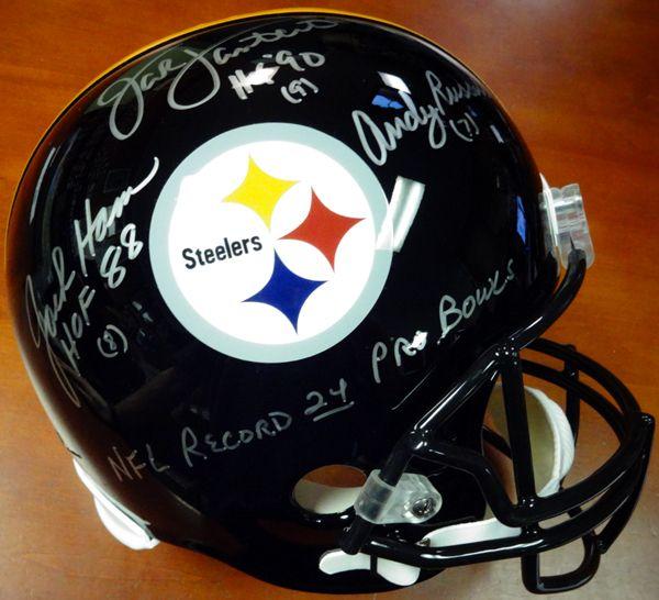 "Jack Lambert, Jack Ham & Andy Russell Autographed Full Size Helmet Pittsburgh Steelers """"HOF & NFL Record 24 Pro Bowls"""" PSA/DNA"