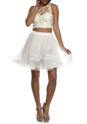 Sequin Hearts Women's Metallic Lace And Tulle Skirt Set - Ivory/Gold - 13