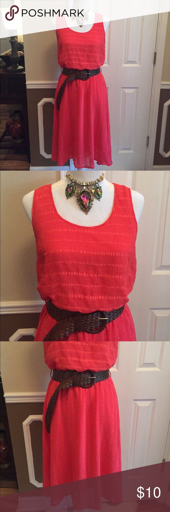New listing! Beautiful coral sundress! Size medium super cute coral sundress with braided belt; belt is made to look worn! Dress has normal wear as associated with washing Dresses Midi