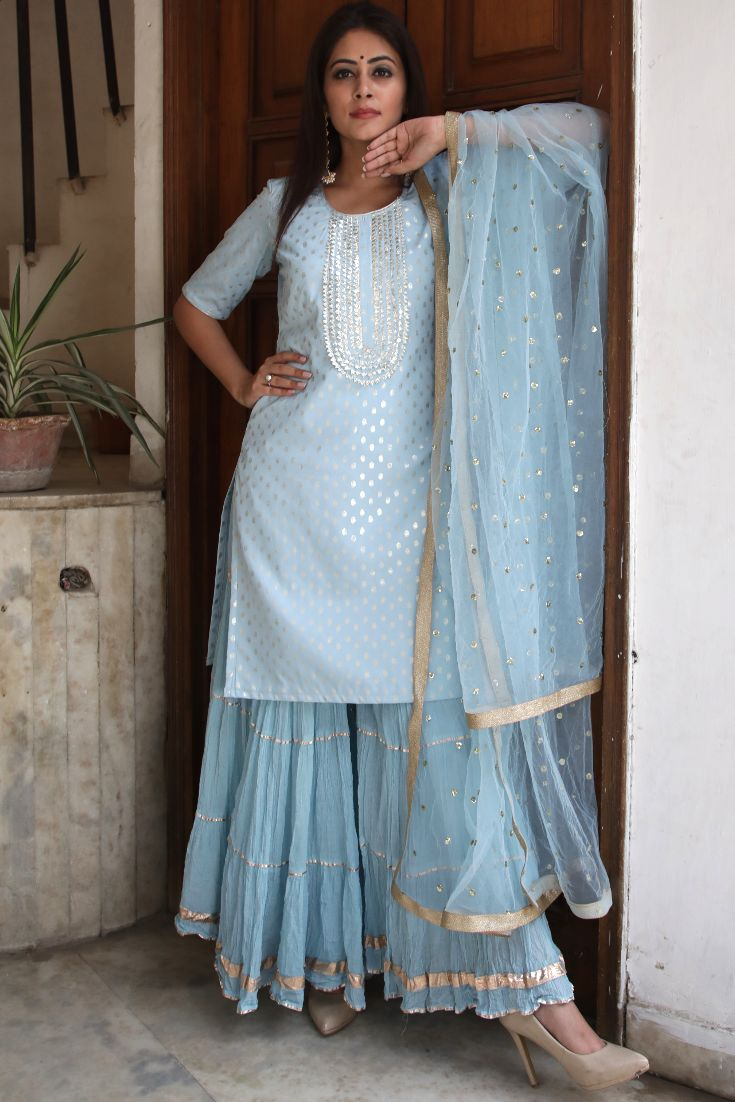 anokherang's Blush Blue Silver Dot Short Kurti with Crushed Sharara and Dupatta