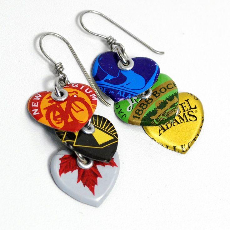 cool Recycled Jewelry Bottle Cap Heart Earrings