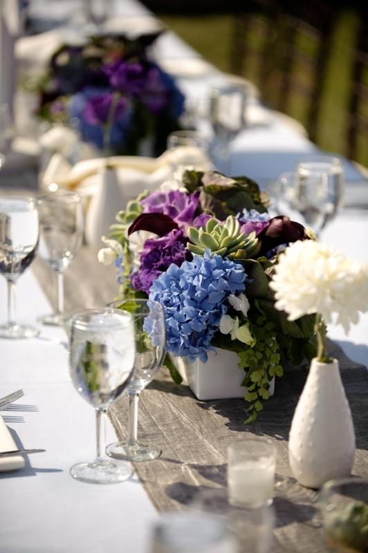 Floral Centerpiece Trends : Best purple blue wedding inspirations images on