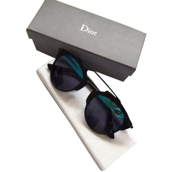 Pre-owned Dior 'so Real' 48mm Mirrored Sunglasses Black/blue & Grey... (3.915 DKK) ❤ liked on Polyvore featuring accessories, eyewear, sunglasses, mirror lens sunglasses, black lens sunglasses, christian dior sunglasses, blue glasses and gray sunglasses
