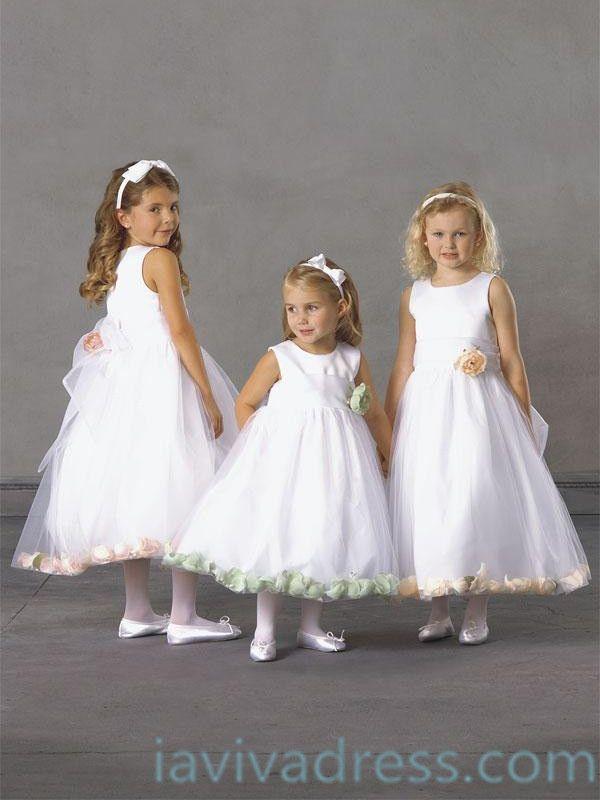 A-line Scoop Sleeveless Tea-length Tulle Flower Girl Dress