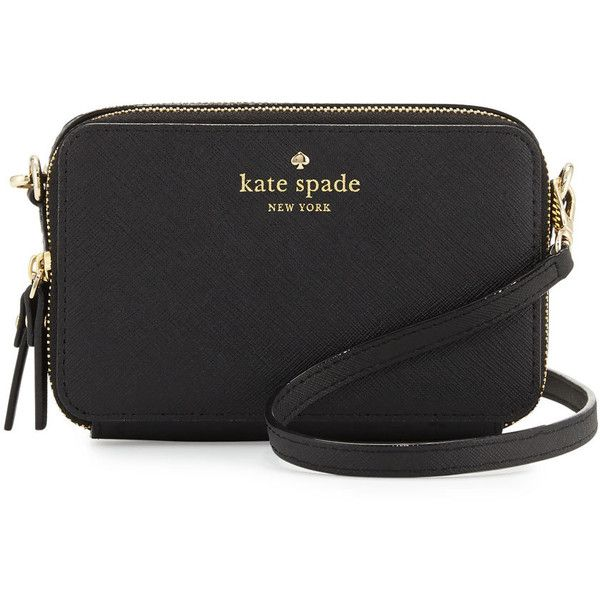 kate spade new york cedar street carine crossbody bag ($178) ❤ liked on Polyvore featuring bags, handbags, shoulder bags, black, leather shoulder bag, crossbody purse, kate spade purses, genuine leather shoulder bag and kate spade handbag