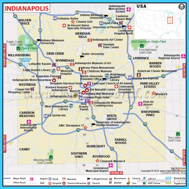 Cool Map Of Indianapolis Indiana