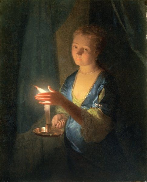 A Lady holding a Candle by Godfried Schalken or Schalcken
