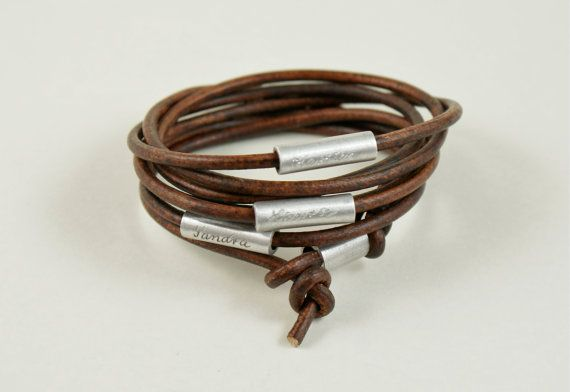 Personalized engraved leather bracelet wrapped by TanjaBraun