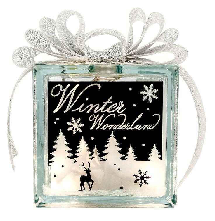 Nicole Crafts Winter Wonderland Glass Block Christmas