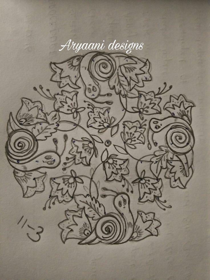 Pencil version of the snail rangoli | Rangoli designs ...