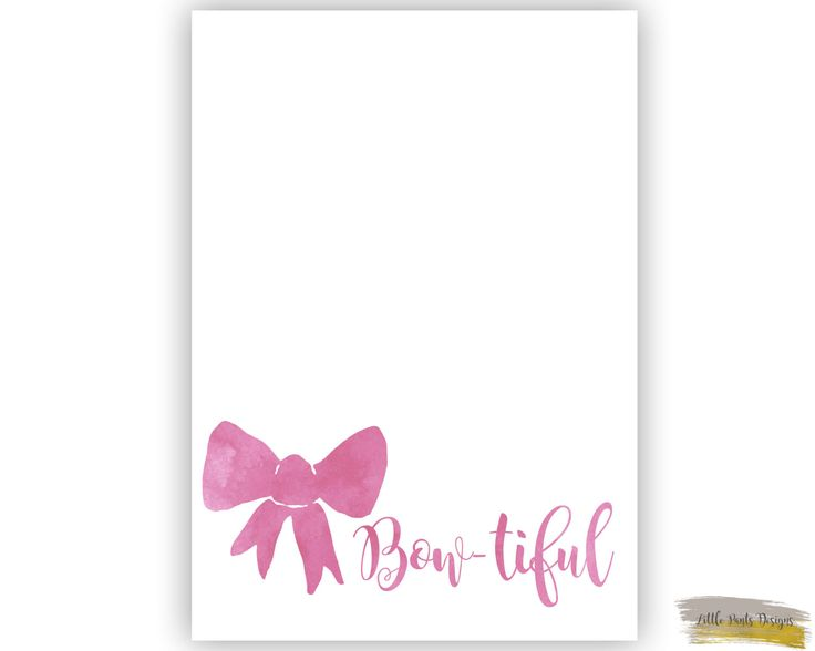 Bowtiful Emma Wiggle Bow  Watercolour Graphic Digital Decor Print Nursery Pink Printable Download by LittlePantsDesigns on Etsy https://www.etsy.com/listing/465203649/bowtiful-emma-wiggle-bow-watercolour