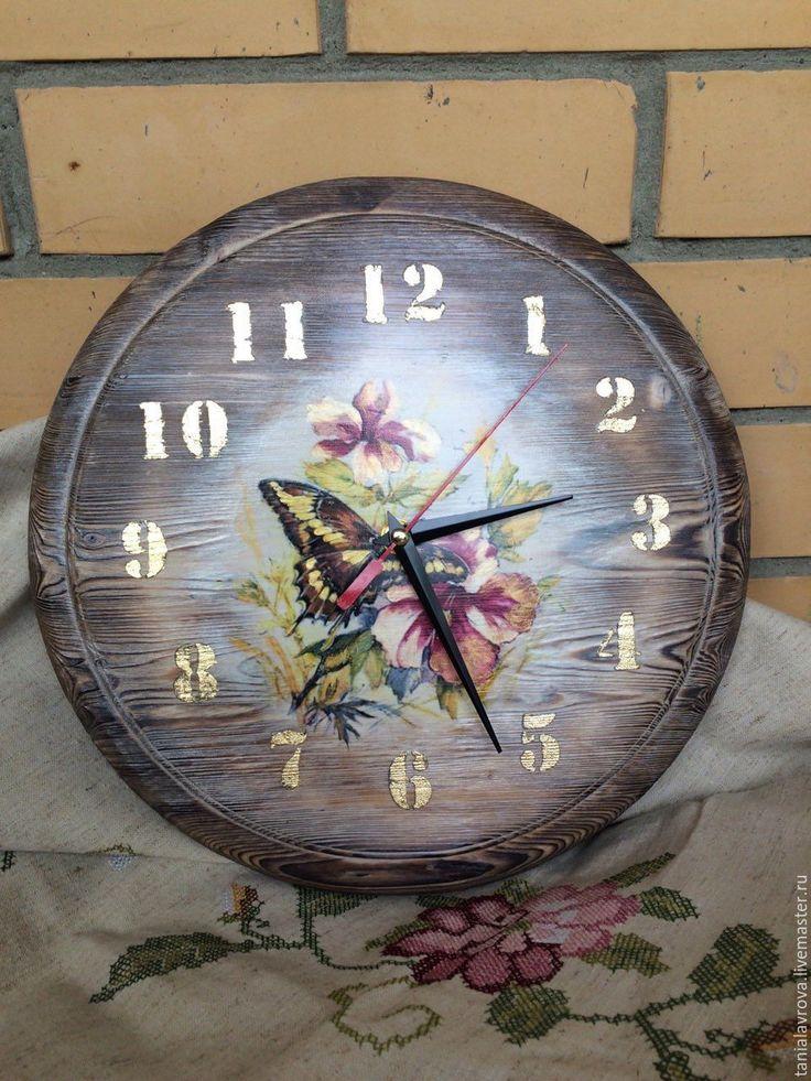 "Купить Часы настенные ""Бабочки на цветах"" - часы настенные, часы интерьерные, часы ручной работы"