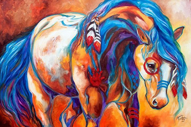Indian Horse Art | Art: MIDNIGHT RIDE Indian War Horse by Artist Marcia Baldwin