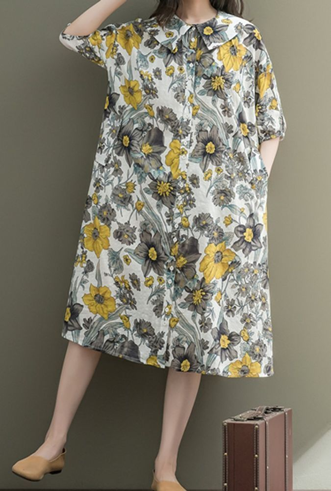 Women loose fitting over plus size flower dress long tunic pregnant maternity #Unbranded #dress #Casual