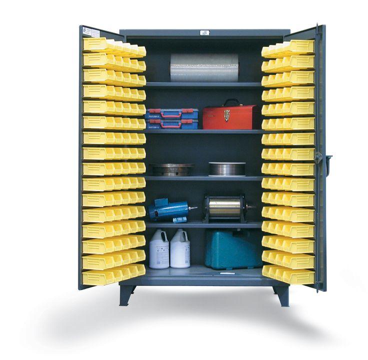 4 Shelf Bin Storage Cabinet   Heavy Duty, 12 Gauge Steel Bin Cabinet With  Interior