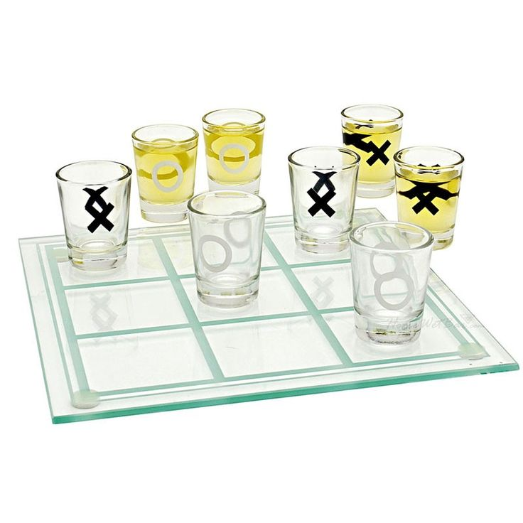 #TicTacToe, three in a row! A favorite pastime with an #exciting twist, this fun drinking game calls for serious strategy, smooth shots, and great #entertainment. Ideal for four players in pairs or just two individuals, this adult party game is sure to liven up any get together and keep the good times ticking! To win, simply get three shot glasses in a row - loser has to drink.  Always play responsibly.