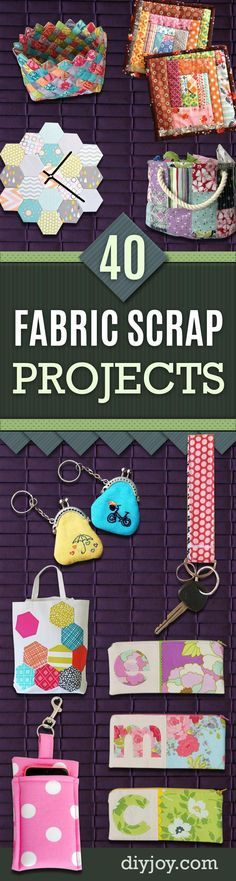 Cool Crafts You Can Make With Fabric Scraps - Creative DIY Sewing Projects and Things to Do With Leftover Fabric and Even Old Clothes That Are Too Small - Ideas, Tutorials and Patterns http://diyjoy.com/diy-crafts-leftover-fabric-scraps                                                                                                                                                                                 More