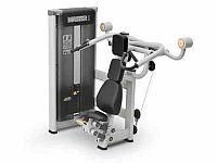 Mięśnie barków Maszyna siłowa przeznaczona do ćwiczeń mięśni obręczy barkowej (mięsień naramienny, grupa mięśni prostownika ramienia). Maszyna posiada 7-stopniową pneumatyczną regulację położenia siedziska. Zastosowane siłowniki pneumatyczne pozwalają na łatwą regulację elementów przez ćwiczącego bez konieczności schodzenie z urządzenia. Stos wyposażony jest w magnetyczny selektor obciążenia.