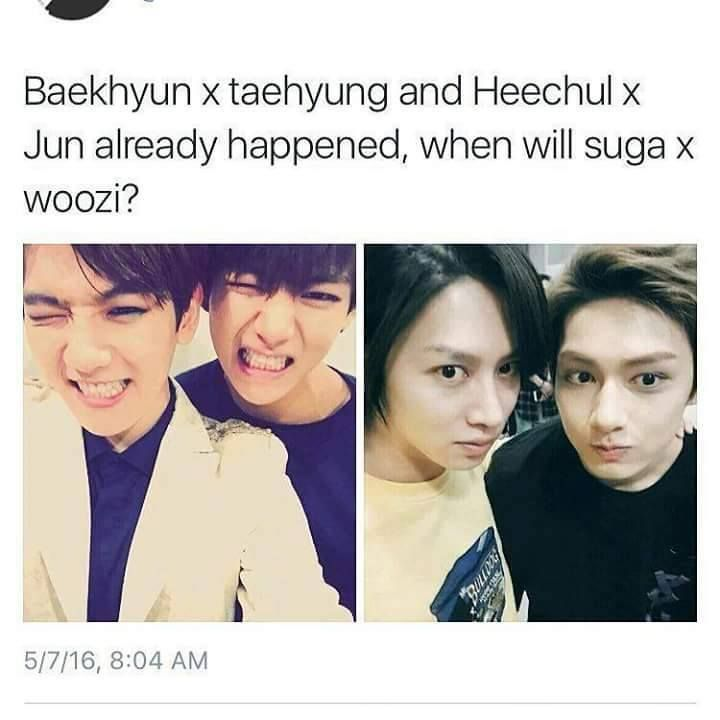 I want that too happen too!! BTS & Seventeen will both be at Kcon NYC16, please Suga and Woozi make it happen
