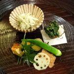 七草 - 料理写真:干瓢香草和え、モロヘイヤお浸し、秋刀魚南蛮漬けと野菜の煮物