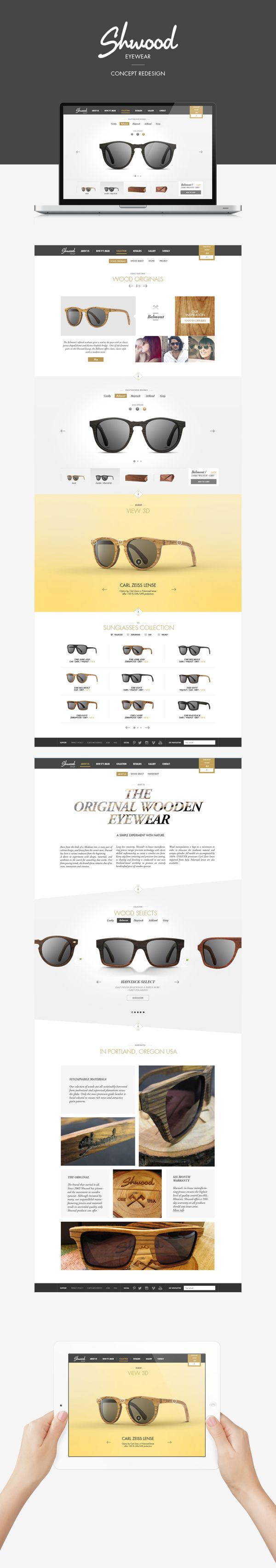 Shwood sunglasses - eshop Concept Redesign on Web Design Served
