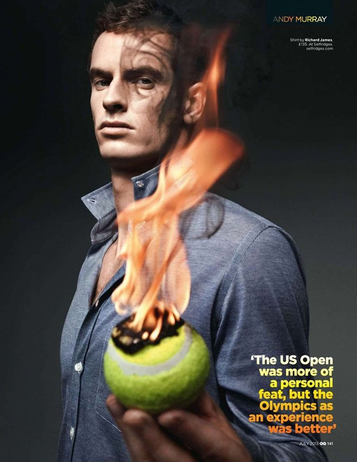 GIO KATHLEEN: Andy Murray on Fire by Art Streiber GQ Magazine UK, July 2013 Issue