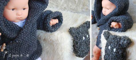 """Knit duffle coat for babies handmade by Atelier Faggi -  Maglioncino versione duffle coat in punto riso grigio scuro... fatto a mano da """"à propos de..."""" Atelier Faggi."""