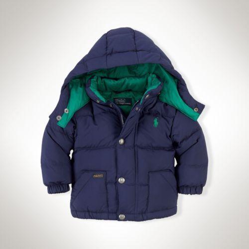 RALPH LAUREN Baby Boy's Varsity Hooded Down Jacket, Size 12M, NEW