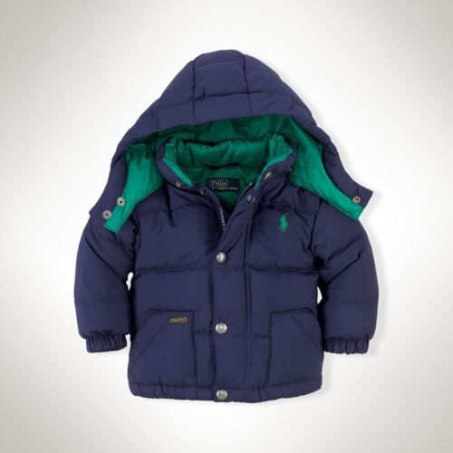 RALPH LAUREN Baby Boy's Varsity Hooded Down Jacket, Size 12M, NEW