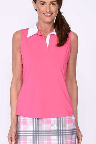 Golftini Ladies & Plus Size Sleeveless Contrast Tech Golf Polo Shirts – Hot Pink