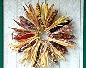 Large Indian Corn Wreath, Natural Indian corn fall wreath, Multicolored corn wreath, Autumn Wreath, Halloween wreath