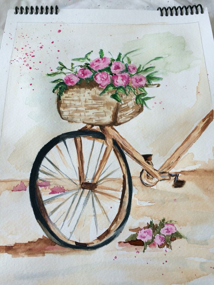 watercolour painting  bike and roses
