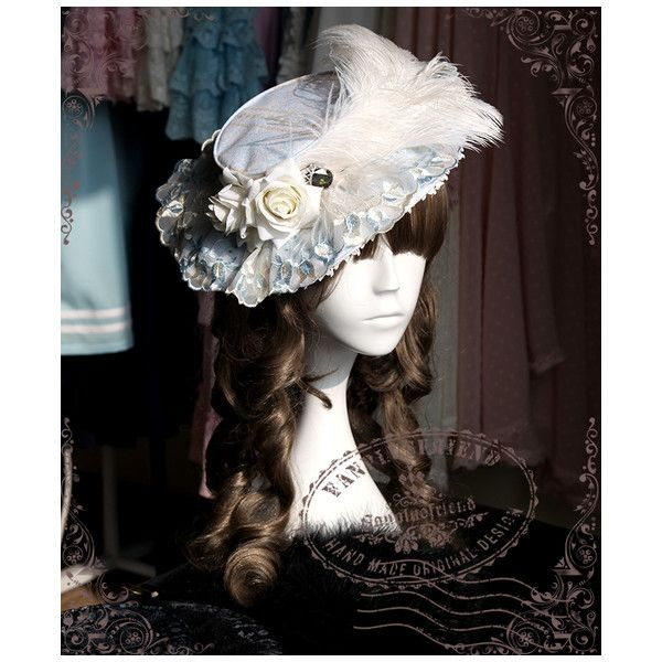 Rococo Lolita Elegant Gothic Flat Hat*5colors ❤ liked on Polyvore featuring accessories, hats, gothic hats, print hats, flat hat and pattern hats