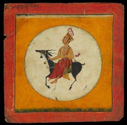 Style: Pahari; Type: Deities and ragas; Title: 'The moon god, depicting the musical mode Raga Chandra', Basohli, c. 1680