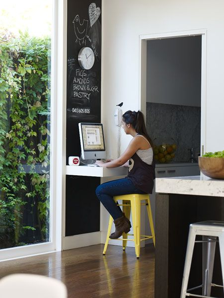 When we knock down the wall separating the kitchen/dinning room a counter height floating workspace would be awesome. I could see it being really helpful when the munchkins are older or I want to look up a recipe. It would be a great place for a docking station. Love this idea!!!!