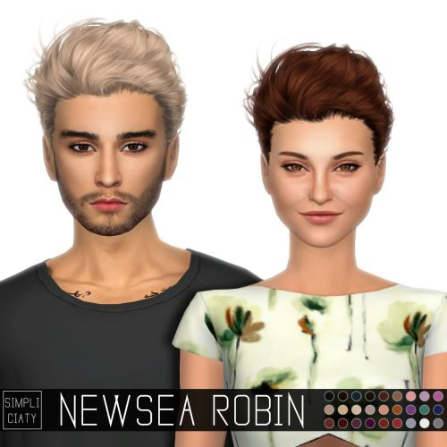 Sims 4 CC's - The Best: Newsea Robin Hair Conversion for Males and Females...