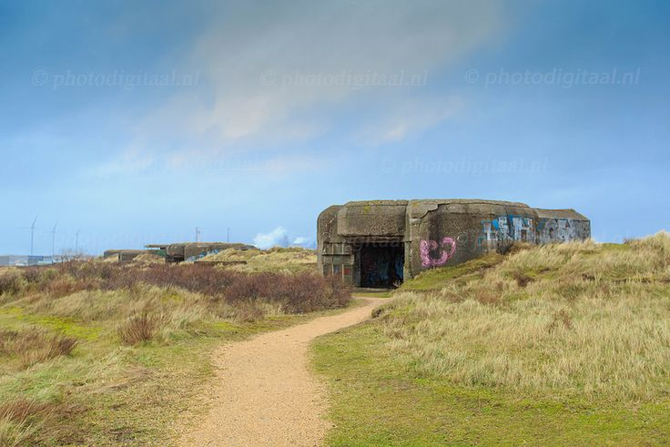 Ruins and artefacts of German fortifications from World War II. Part of the Atlantic Wall at IJmuiden in the Netherlands. This was a Bunker for heavy guns against ships.