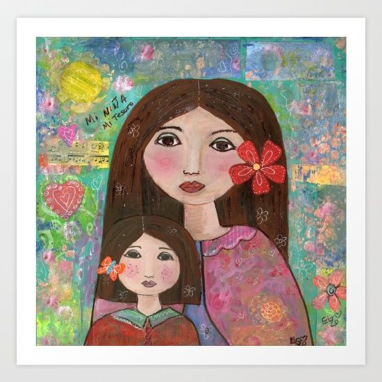 Collect your choice of gallery quality Giclée, or fine art prints custom trimmed by hand in a variety of sizes with a white border for framing. https://society6.com/product/mom-and-daughter_print?curator=wellglow